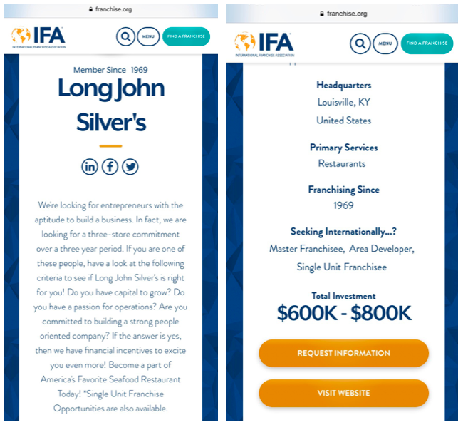 Screenshot from the IFA website demonstrating that the IFA currently promotes the Long John Silver's franchise.