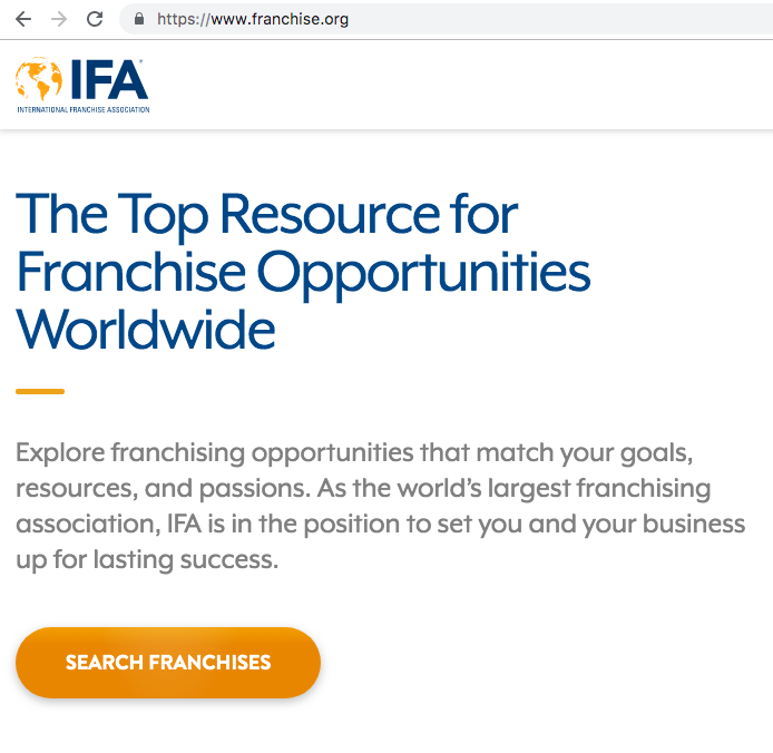 screenshot from IFA website demonstrating focus on franchise sales