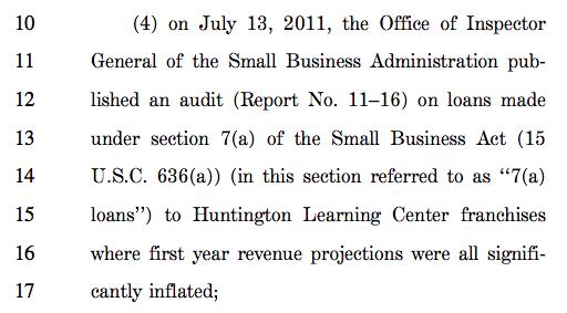 Screenshot of the SBA Franchise Loan Transparency Act's purpose