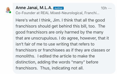 Screenshot of my response on LinkedIn