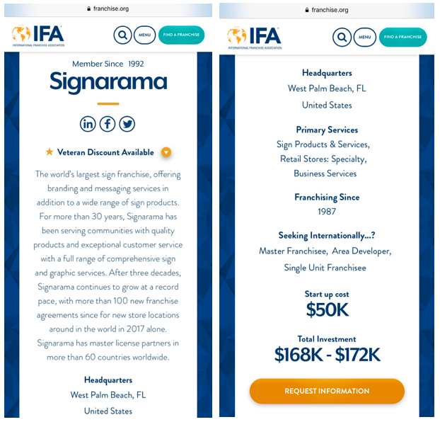 Screenshot from the IFA website demonstrating that the IFA currently promotes Signarama