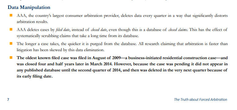 Screenshot about data manipulation from the AAJ's report on forced arbitration