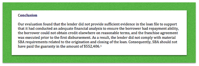 Screenshot of conclusion of August 2018 SBA Report