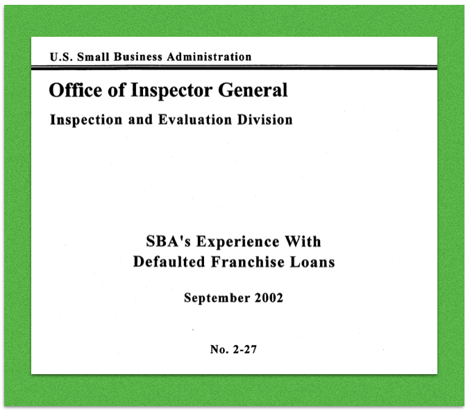 Screenshot of title page of SBA OIG Report